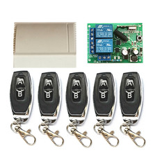 433MHz wireless 2 channel AC 110V 220V. Relay receiver and 1527 learning code RF transmitter remote control switch for garage do