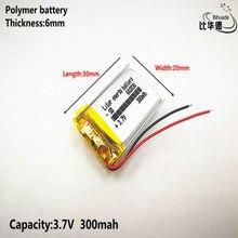 1 pçs/lote 602030 300 mah 3.7V bateria de lítio-ion bateria de polímero de qualidade de produtos de qualidade de certificação CE FCC ROHS autoridade