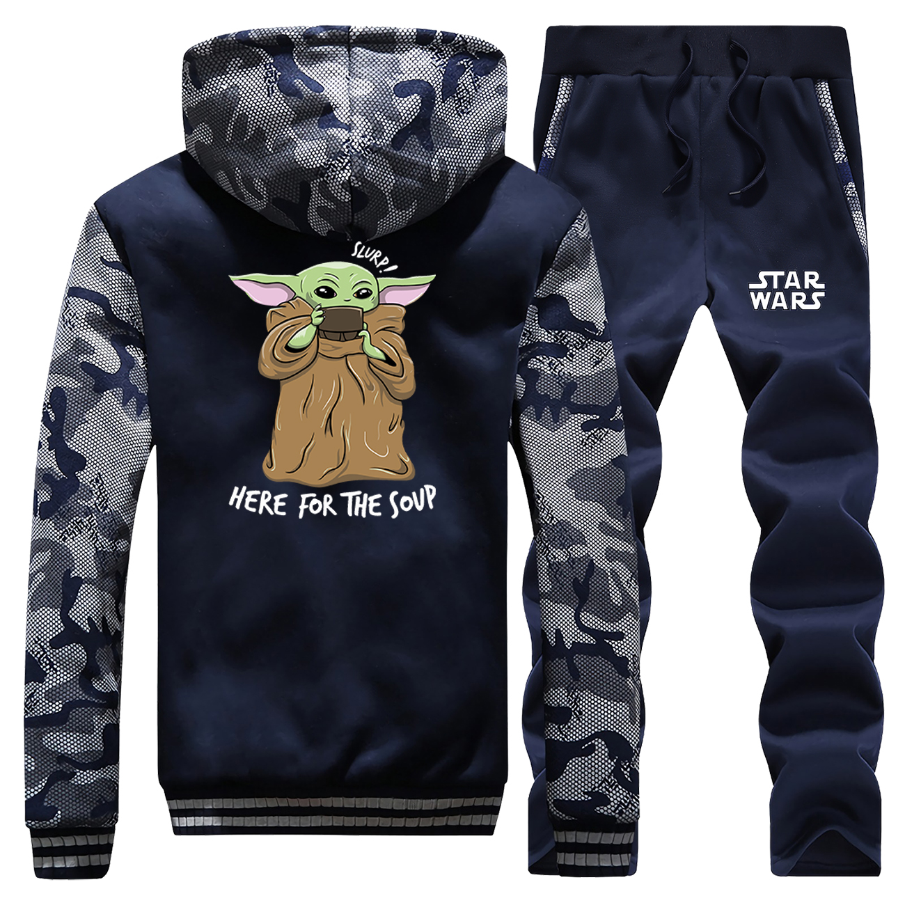 The Child Baby Yoda Warm Thick Pants Set Fleece Coat Mandalorian Sweatshirt Men Winter Jacket Coats Hoody Thicken Male Jackets