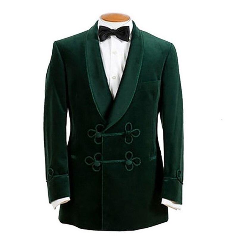 ANNIEBRITNEY Green Velvet Smoking Jacket For Men High Quality Spring Fall Winter Velvet Cutsom Big Size Formal Prom Only Blazer