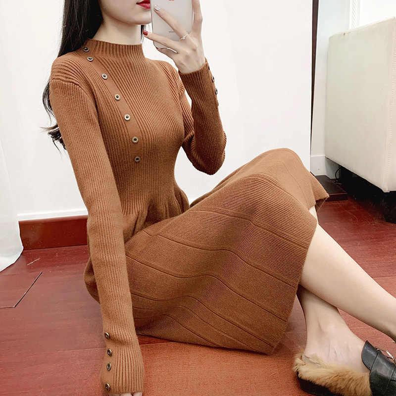 Botton, однотонное платье в полоску с завышенной талией, тонкое, с круглым вырезом, с длинным рукавом, Vestido, зимнее трикотажное платье, Осеннее женское, модное, Mujer, новинка 2019