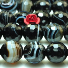 Mamiam Natural A Black Stripe Onyx Eye Agate Faceted Round Beads Smooth Loose Stone Diy Bracelet Necklace Jewelry Making Design