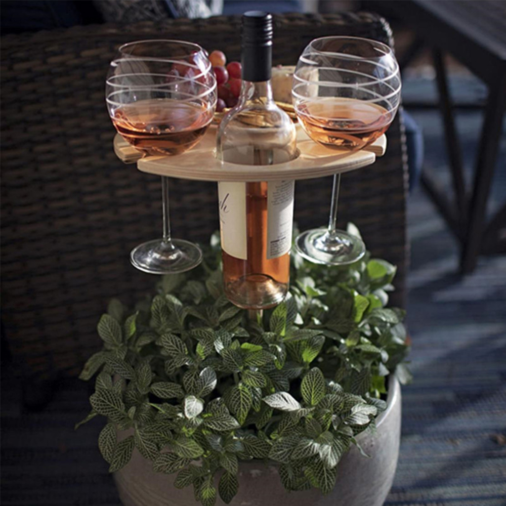 Foldable Outdoor Wine Table With Round Desktop Mini Portable Folding Wine Table For Outdoor Garden Travel