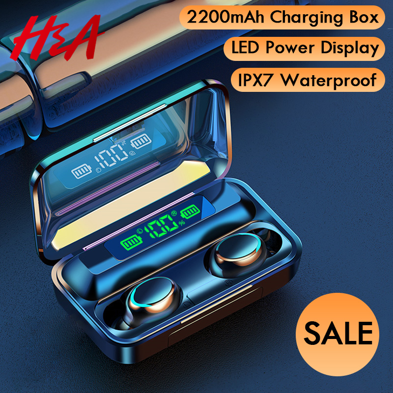 H&A Bluetooth V5.0 Earphones Wireless Headphones With Microphone Sports Waterproof Headsets 2200mAh Charging Box For iOS Android title=