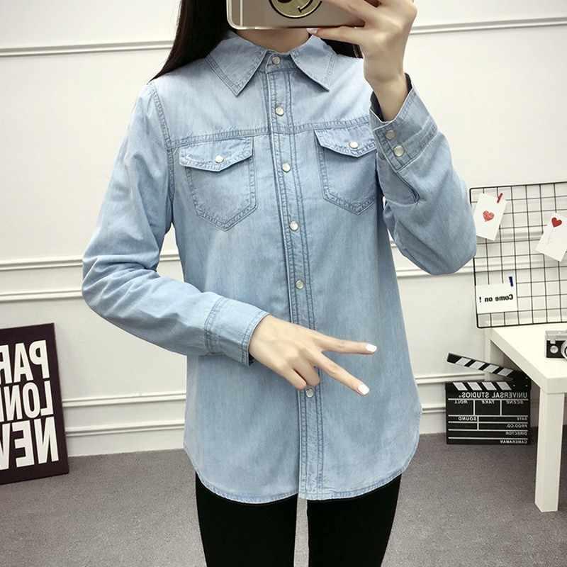 2020 inverno forro de pele das mulheres quentes blusa manga longa denim camisas lapela colarinho coreano feminino jeans roupas tops plus size S-3XL