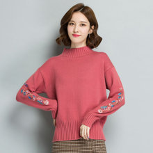 Autumn Women Casual High Collar Pullover Sweaters Pink Green Yellow White Flower Embroidery Sleeve Off Shoulder Knitwear Woman