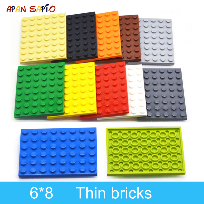 10pcs DIY Building Blocks Thin Figures Bricks 6x8 Dots 12Color Educational Creative Size Compatible With Lego Toys For Children