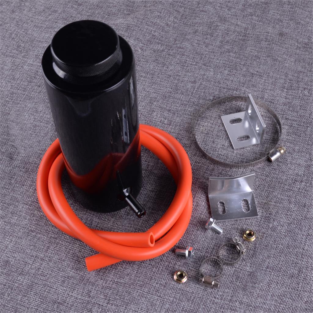 Réservoir de débordement de réservoir de retenue de liquide de refroidissement de radiateur de cylindre d'alliage d'aluminium noir de DWCX 800ml