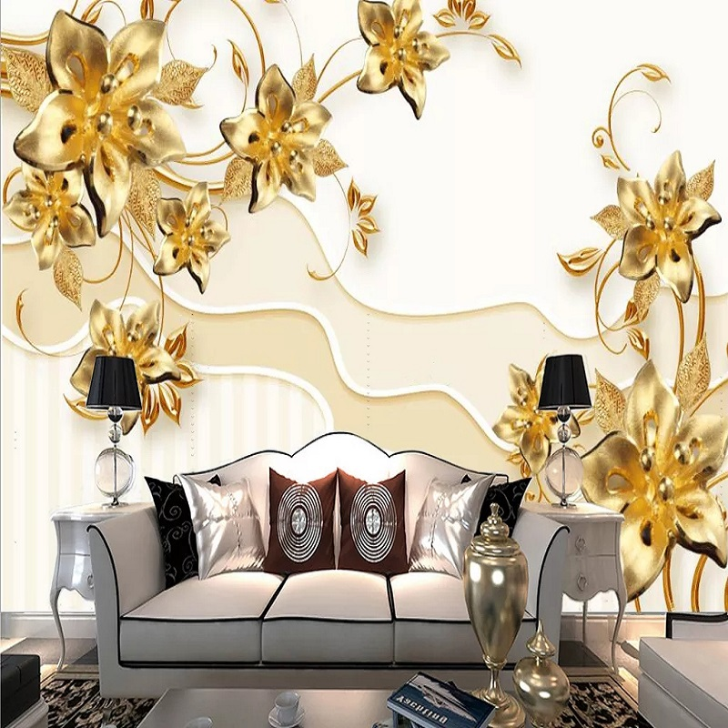 Custom Large Mural 3D Wallpaper Fashion Modern Luxury Abstract Pearl Jewelry Golden Flowers Bedroom TV Wall Decor 5D Embossed