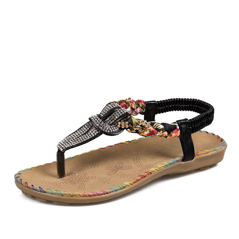 Women Bohemia Sandals Bling Thong Women T Strap Flats Beading Beach Shoes Comfortable 2020 New Summer Fashion Sandals