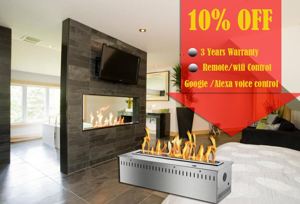 On Sale 48 Inch Free Shipping Modern Remote Fireplace Ethanol Smart Chimney Indoor