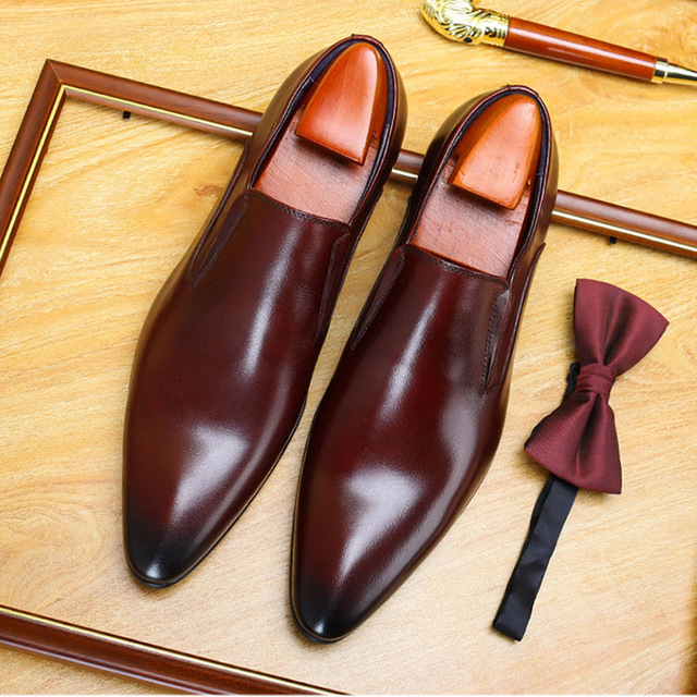 Classic Pointed Toe Business Men's Dress Shoes Genuine Leather Formal Wedding Shoes Slip On Office Oxford Shoes For Men A42 2