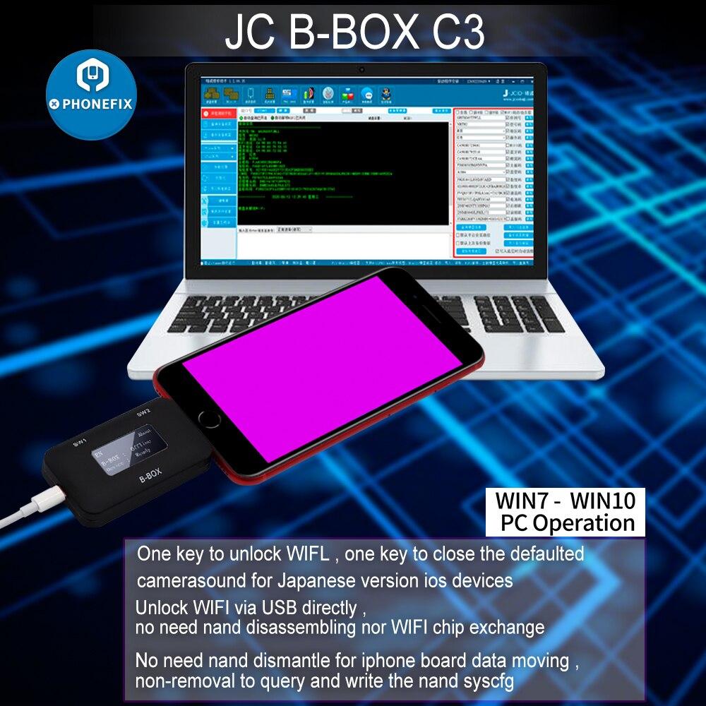 JC B-BOX C3 DFU iPhone 및 iPad 용 IOS A7-A11 용 보라색 키 1 개 잠금 해제 WIFI 수정 NAND Syscfg 데이터 창 DCSD 케이블과 동일