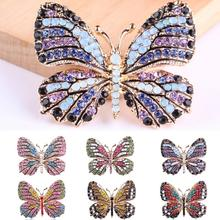 Fashion Butterfly Brooches For Women Perfect Rhinestone Crystal Hijab Pins Christmas Gift