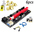 6 stücke PCI-E Pcie Riser 009S PCI E X16 PCI Express 6Pin Zu SATA 1X 16X USB 3,0 Extender GPU Dual 6Pin Adapter Karte Für BTC Bergbau