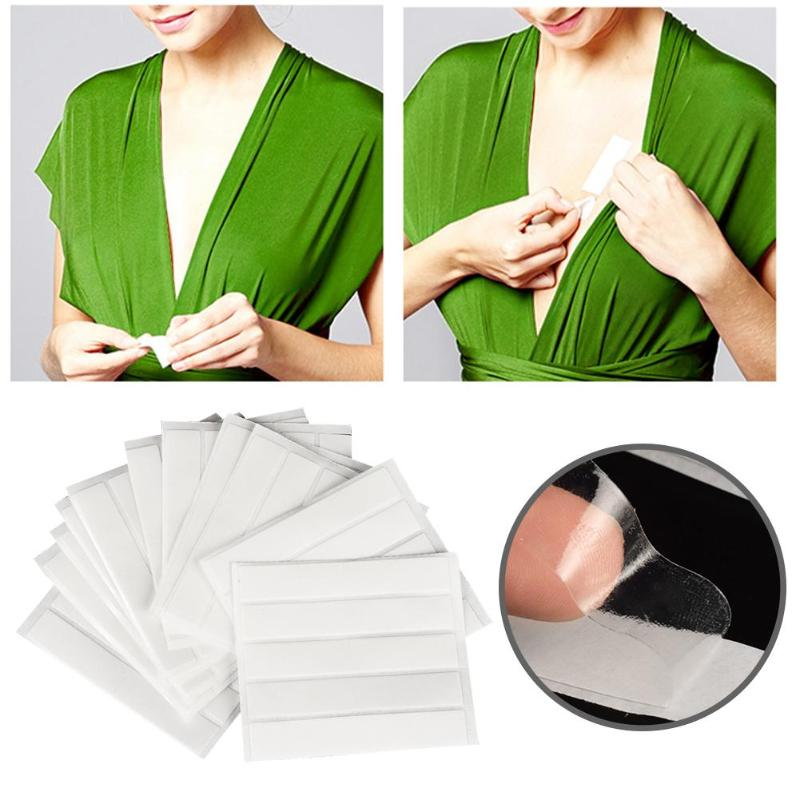 60pcs/bag Double Sided Adhesive Safety Lingerie Bra Strip Waterproof Body Clothing Clear Bra Strip Tape For V-neck