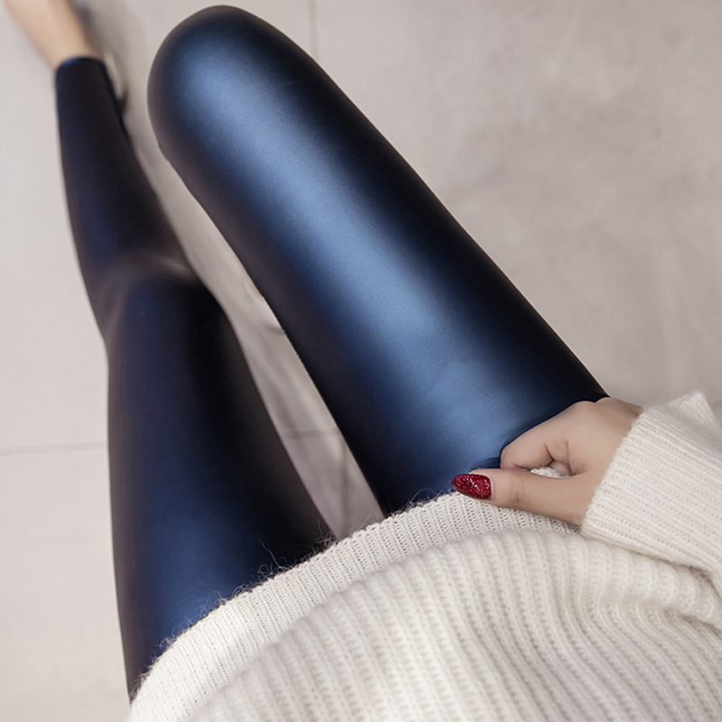 PU Faux Leather Leggings 2019  Female Autumn Winter Slim High Waist Leggins Women Fleece Pencil Leggings 4 Colors Skinny Pants