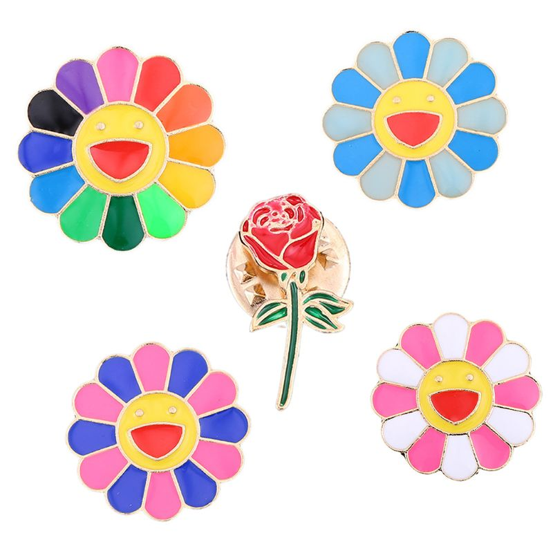 Women Children Rainbow Smiling Sunflower Dripping Oil Brooch Kawaii Metal Enamel Lapel Pins Cartoon Badge Jewelry Gift