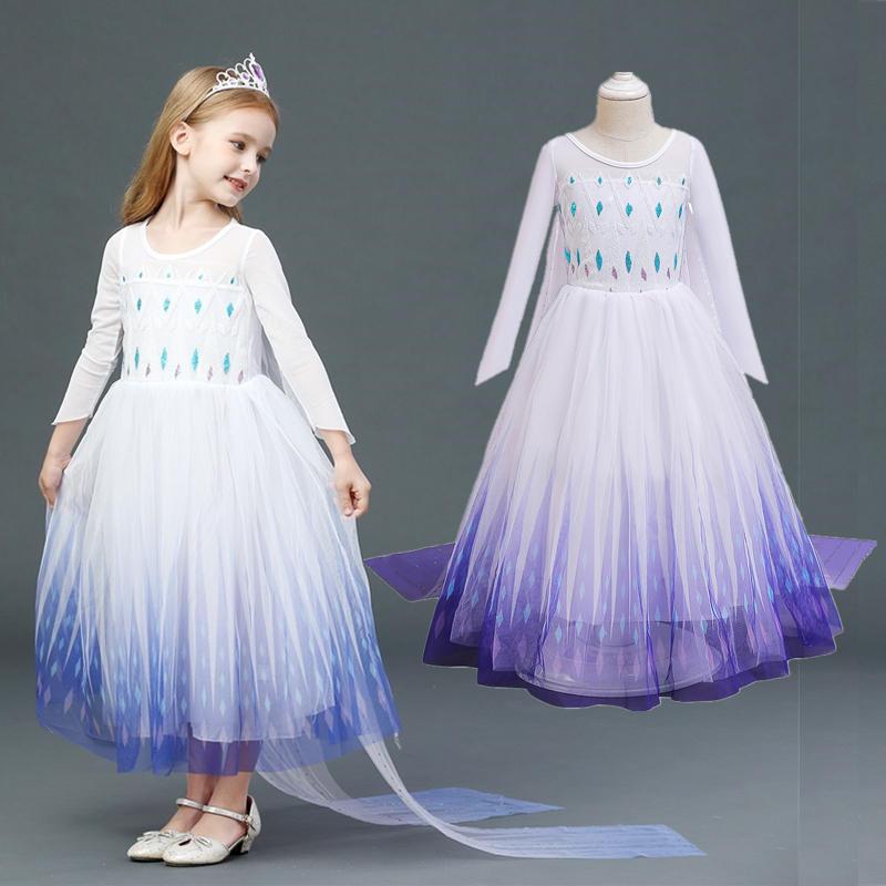 Long Sleeve Girls Dress Snow Queen Dress Halloween Princess Cosplay Costume Kids Dresses