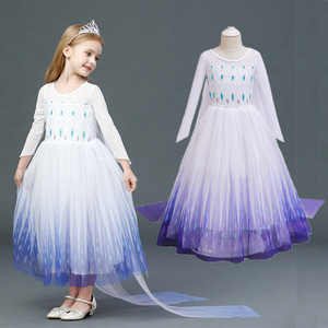 Long Sleeve Girls Dress Snow Dress Halloween Princess Cosplay Costume Kids Dresses for Girls Sequined New Year Clothing