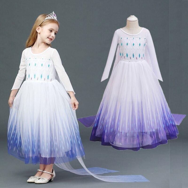 Meninas vestido de manga longa neve rainha vestido halloween princesa cosplay traje crianças vestidos para meninas lantejoulas roupas de ano novo