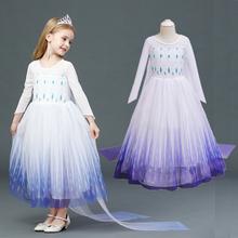 Sukienka dla dziewczynek z długimi rękawami suknia królowej śniegu Halloween księżniczka przebranie na karnawał sukienki dla dzieci dla dziewczynek cekinowa odzież noworoczna tanie tanio jyhycy Poliester Wiskoza Woal Mesh CN (pochodzenie) Kostek O-neck Dziewczyny REGULAR Pełna Europejskich i amerykańskich style