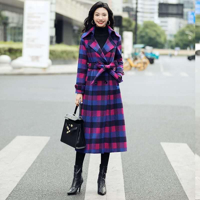 Купить женское шерстяное пальто двубортное облегающее в клетку до колена