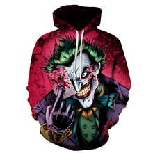 3D Poker Pola Badut Mantel Joker Set Kasual Dicetak Hooded Hoodie(China)