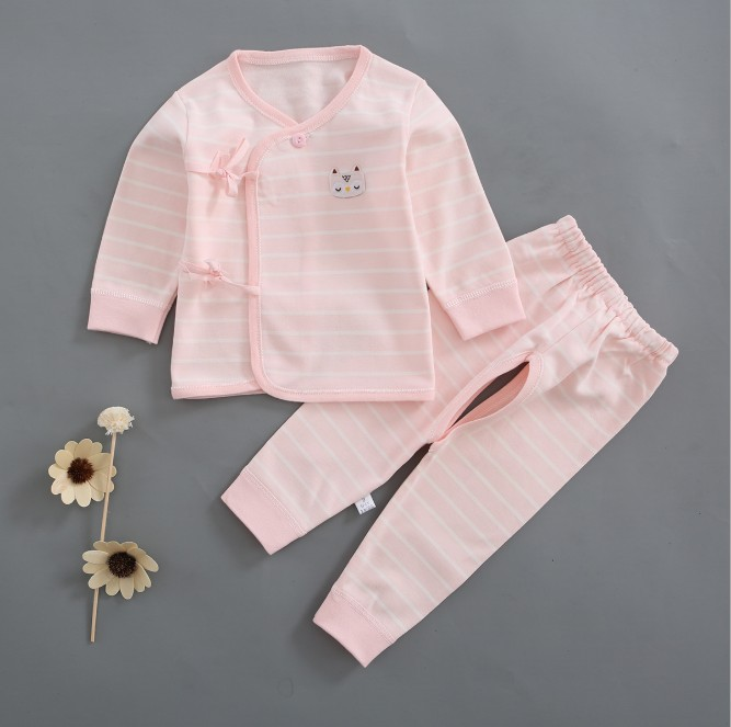 Spring Newborn Baby Clothes Sets Baby Kids Girls Boys Cartoon Print Sleepwear Set Long Sleeve Blouse Tops+Pants Pajamas