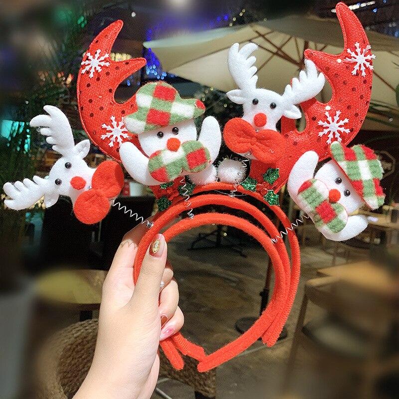 Christmas Headband Glitter Foam Spring Antlers Hair Band Cute Santa Claus Hair Hoop Festival Party Headwear Hair Accessories