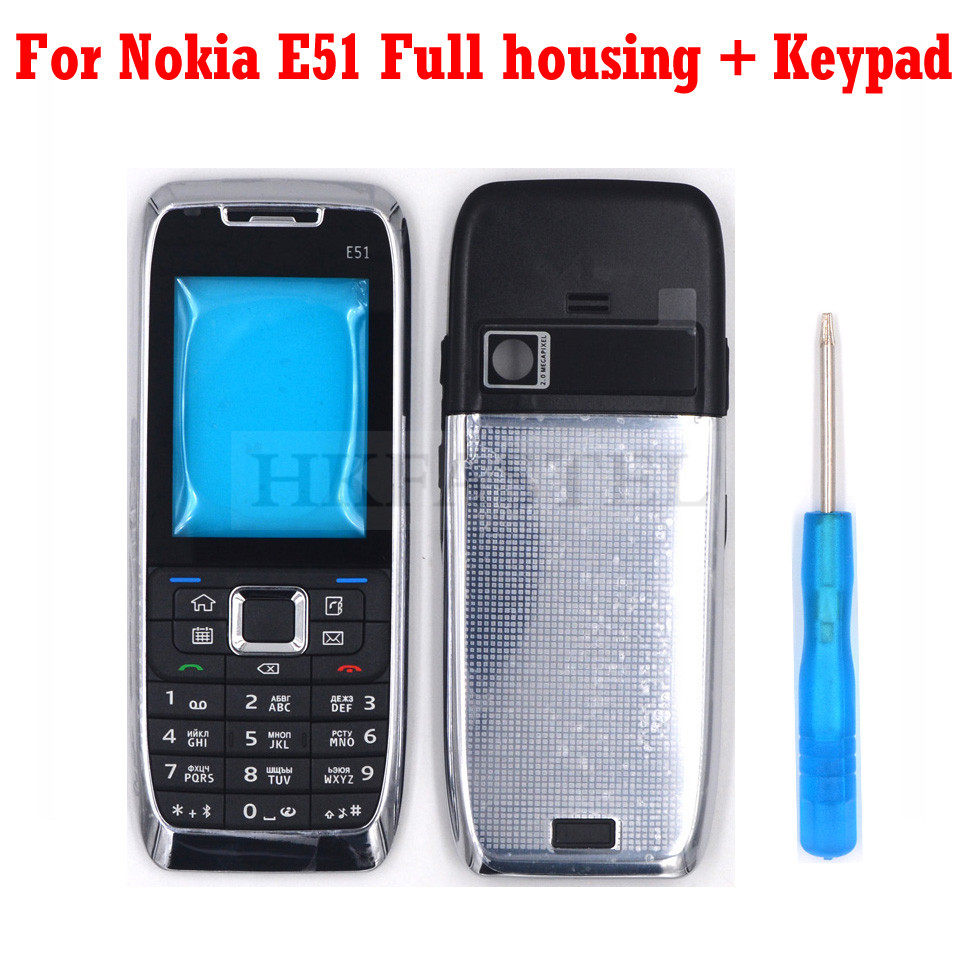 HKFASTEL New Full Mobile Phone Housing For Nokia E51 Silver  Cover Case With Russian Arabic Keypad +Tool|Mobile Phone Housings & Frames| |  - title=