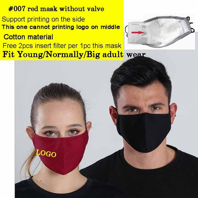 2pcs a lot Cotton Adult mouth Mask Big Face Custom Printing LOGO mask Windproof Mouth-muffle bacteria proof Flu Face masks Care 1