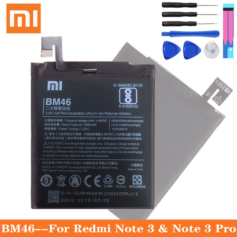 Xiao Mi Original BM46 Battery Real 4000mAh For Xiaomi Redmi Note 3 / Note 3 Pro Replacement Phone Batteries Free Tools image