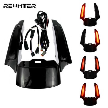 Motorcycle Rear Fender Extention Fascia w/ LED Lights For Harley Touring 09-13 Road Glide Ultra FLHX Road King Tri Glide