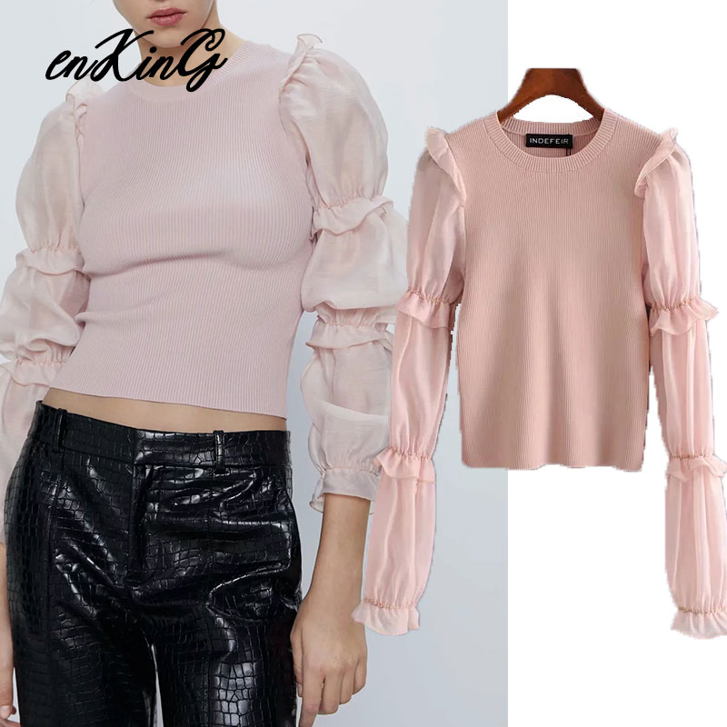 2020 Casual Long Sleeve England Vintage Pink Solid Spring Sweater O Neck Sweaters Women Pull Femme Sweaters Women Pullovers Tops