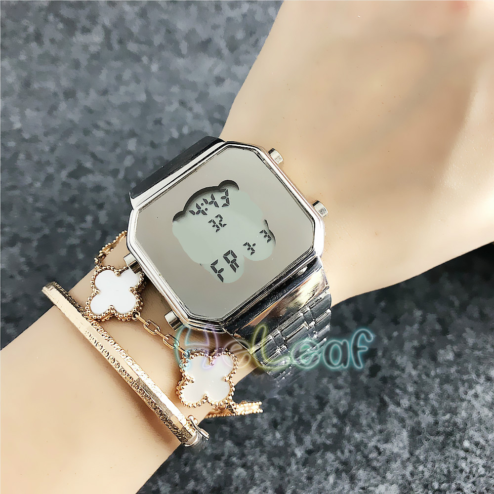 Fashion Silver Gold Simple Bear Stainless Women Watch Quartz Wrist Watches Girls Famous Brand Female Clock Reloj