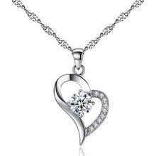 Trendy Silver Color/Purple Heart Zircon Crystal Pendant Necklace Woman Jewelry V