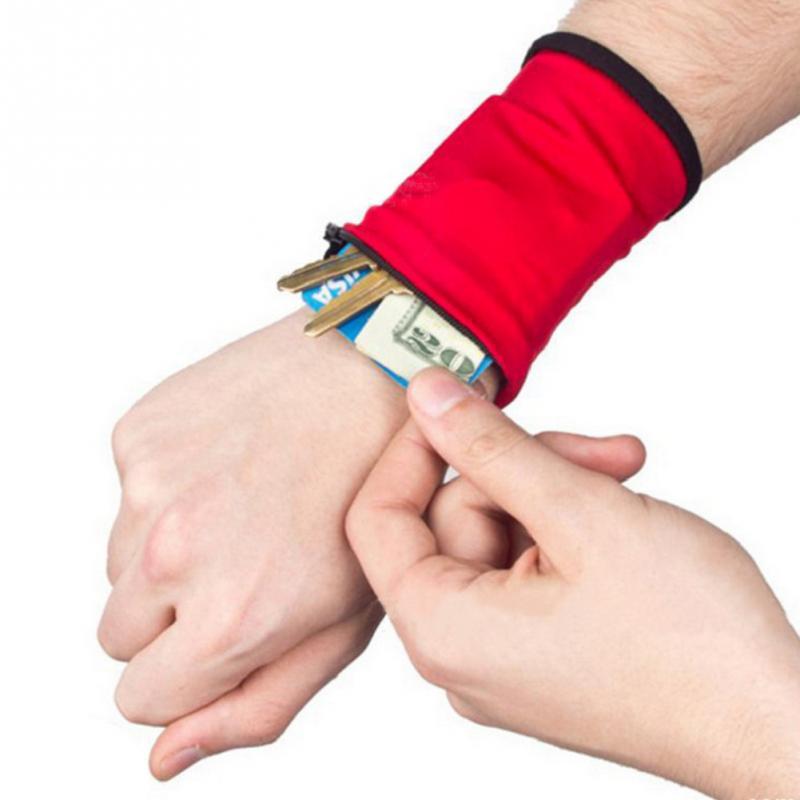 Outdoor Wrist Zipper Wallet Running Arm Pouch Bag Storage Bag Case Badminton Basketball Wristband Sweatband For MP3 Key Card