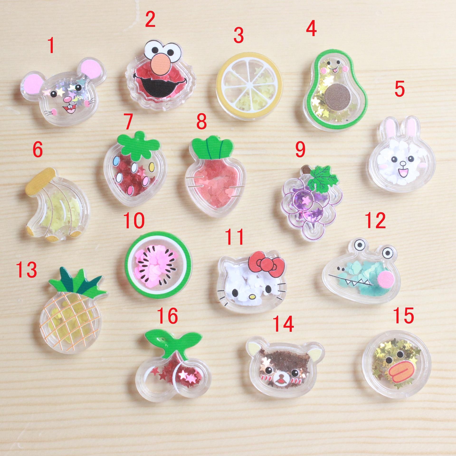 10Pcs Kawaii Transparent Quicksand Cartoon Fruit Flat Back Resin Cabochon Embellishments Scrapbook Craft DIY Hair Accessories