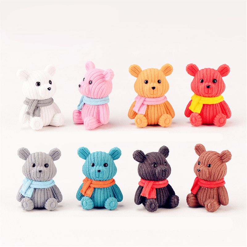 1PC Popular Party Home Decoration Accessories Cute Plastic Tedy Bear Miniature P31B
