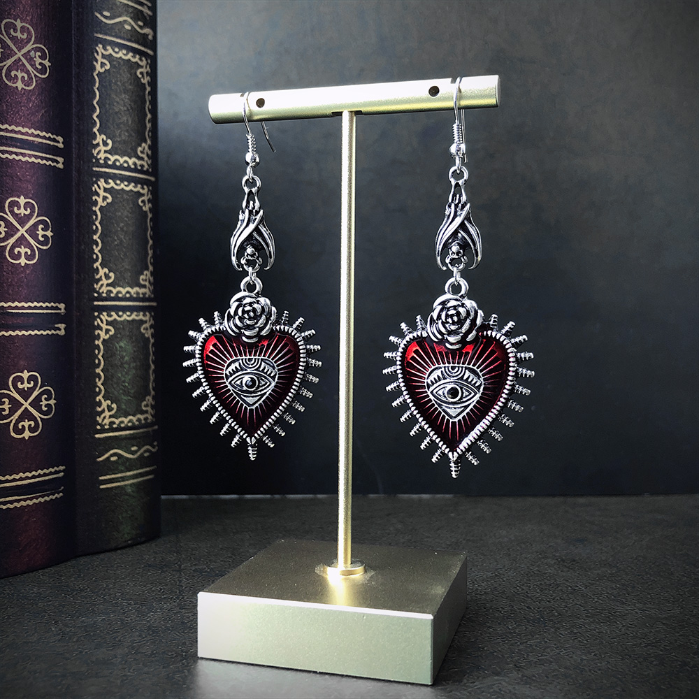 Occult Dark Goth Drop Earring Jewelry Blood Rose Heart Oil Bat Gothic Earrings For Women's Retro Hanging Long Earings Aesthetic
