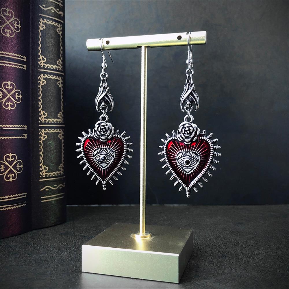 Occult Dark Goth Drop Earring Jewelry Blood Rose Heart Oil Bat Gothic Earrings For Women's Retro Hanging Long Earings Aesthetic