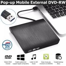 USB 3,0 тонкий внешний DVD RW CD Писатель Привод горелки ридер плеер Оптические приводы для портативных ПК