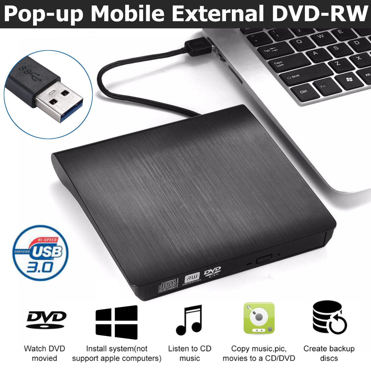 USB 3.0 Slim External DVD RW CD Writer Drive Burner Reader Player Optical Drives For Laptop PC(China)