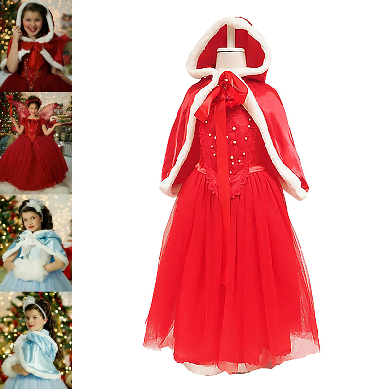 Kids Girls Princess Style Dress Costume Fancy Dress with Cape for Party Performance Christmas B88