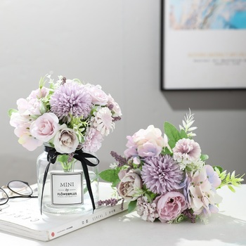 yumai 7 Heads Hydrangea Flowers Artificial Bouquet Silk Blooming Fake Peony Bridal Hand Flower Roses Wedding Centerpieces Decor