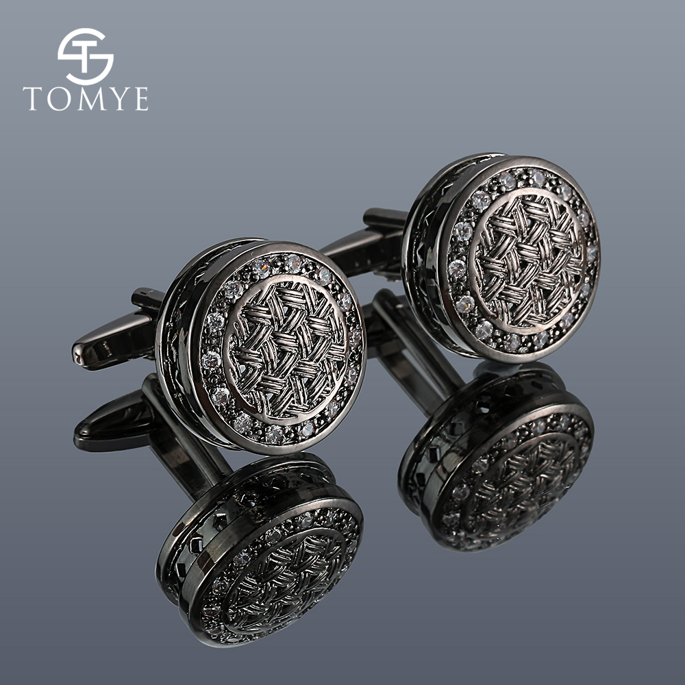 Men's Cufflinks TOMYE XK20S005 High Quality Luxury Zircon Round Shirt Cuff Links