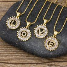 Heißer Verkauf 26 teile/los Großhandel A-Z Initial Buchstaben Halskette Gold Silber Farbe Kette Halsketten CZ Kristall Anhänger Name Schmuck Geschenk