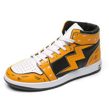 Buty Cosplay męskie buty brezentowe buty wysokie buty koszykarskie Ins Cartoon buty koszykarskie wysokie buty koszykarskie dla mężczyzn tanie i dobre opinie JUMPMORE CN (pochodzenie) RUBBER FL20061205 Sznurowane Dobrze pasuje do rozmiaru wybierz swój normalny rozmiar podstawowe
