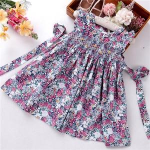 Платья для девочек с цветочным принтом; Летняя детская одежда ручной работы с рюшами; Детская одежда из хлопка; Бутики высокого качества